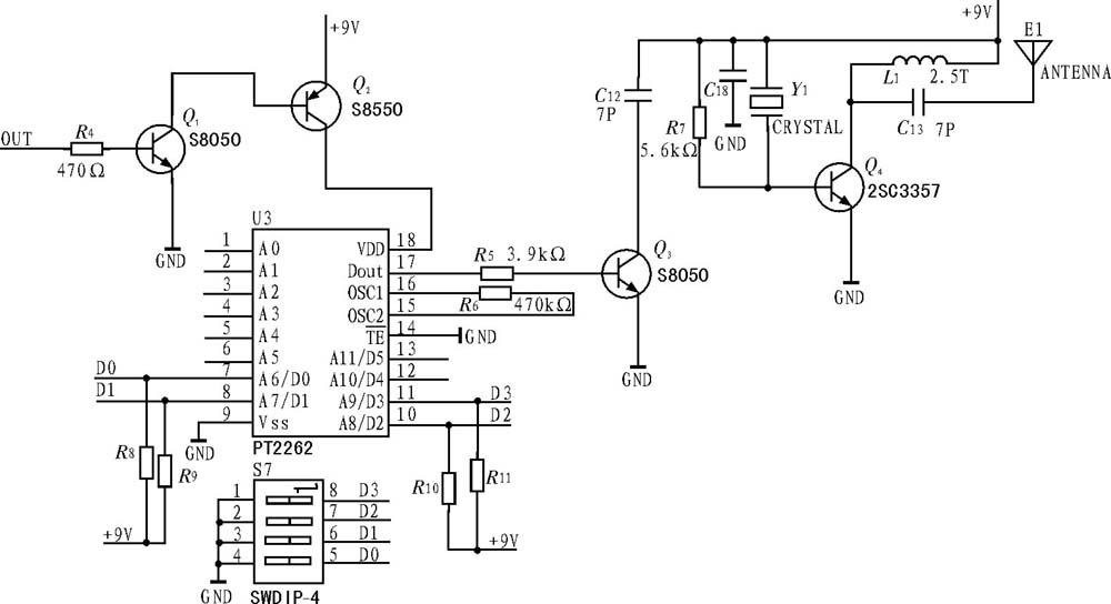 r4,q1,q2组成电子式开关调制电路,r7,c18,q4,l1和声表谐振器y1组成315