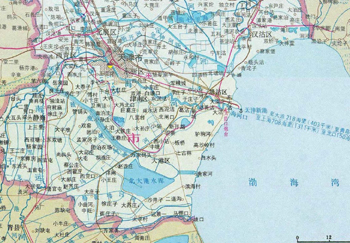 天津滨海新区地图  塘沽是个不折不扣的老地名儿,而这一名字又与海密